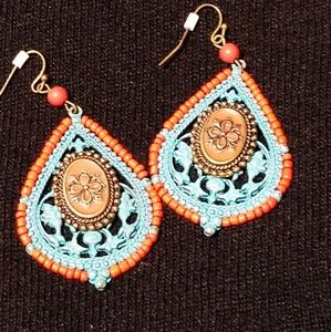 Gorgeous beaded blue enamel earrings